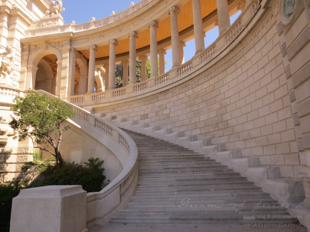 Marseille, France - Palais Longchamp - Stairs and pillars