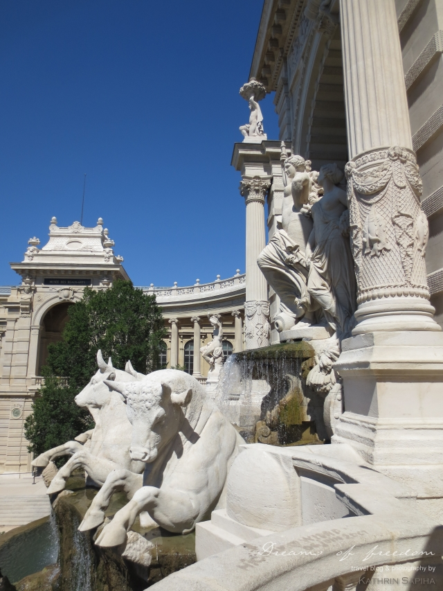 Marseille, France - Palais Longchamp - Statues of two women and bulls